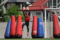 New York Red Bulls goalkeeper Bouna Coundoul (18) during a New York Red Bulls practice on the campus of Montclair State University in Upper Montclair, NJ, on July 16, 2010.
