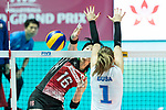 Wing spiker Risa Ishii (L) of Japan spikes the ball during the FIVB Volleyball World Grand Prix - Hong Kong 2017 match between Japan and Serbia on 22 July 2017, in Hong Kong, China. Photo by Yu Chun Christopher Wong / Power Sport Images