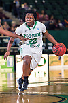 North Texas Mean Green guard BreAnna Dawkins (22) in action during the game between the Arkansas Little Rock Trojans and the North Texas Mean Green at the Super Pit arena in Denton, Texas. UALR defeats UNT 52 to 48...