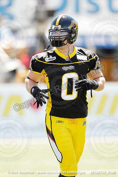 July 10, 2010; Hamilton, ON, CAN; Hamilton Tiger-Cats fullback Darcy Brown (0). CFL football: Calgary Stampeders vs. Hamilton Tiger-Cats at Ivor Wynne Stadium. The Tiger-Cats lost against the Stampeders 23-22. Mandatory Credit: Ron Scheffler. Copyright (c) 2010 Ron Scheffler.