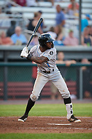 Hudson Valley Renegades left fielder Bryce Brown (1) at bat during a game against the Auburn Doubledays on September 5, 2018 at Falcon Park in Auburn, New York.  Hudson Valley defeated Auburn 11-5.  (Mike Janes/Four Seam Images)