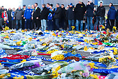 2nd February 2019, Cardiff City Stadium, Cardiff, Wales; EPL Premier League football, Cardiff City versus AFC Bournemouth; Flowers and Shirts are laid in memorial for Emiliano Sala outside Cardiff City Stadium