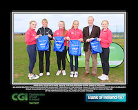 Naas Golf Club Girls With Kate Wright CGI and Brendan Byrne Bank of Ireland.<br /> Junior golfers from across Leinster practicing their skills at the regional finals of the Dubai Duty Free Irish Open Skills Challenge supported by Bank of Ireland at the Heritage Golf Club, Killinard, Co Laois. 2/04/2016.<br /> Picture: Golffile | Fran Caffrey<br /> <br /> <br /> All photo usage must carry mandatory copyright credit (© Golffile | Fran Caffrey)
