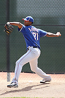 David Perez #71 of the Texas Rangers plays in a minor league spring training game against the Kansas City Royals at the Rangers minor league complex, on March 22, 2011  in Surprise, Arizona. .Photo by:  Bill Mitchell/Four Seam Images.