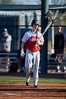Treyson Hughes during the Under Armour All-America Pre-Season Tournament, powered by Baseball Factory, on January 19, 2019 at Sloan Park in Mesa, Arizona.  Treyson Hughes is an outfielder from Valdosta, Georgia who attends Lowndes High School and is committed to West Virginia.  (Mike Janes/Four Seam Images)