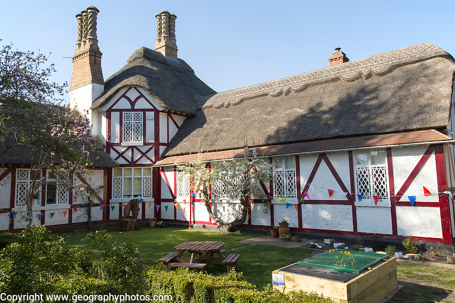 Primary school building in the village of Somerleyton, near Lowestoft, Suffolk, England, UK