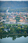 The small town of Winona sits along the Mississippi River in southeast Minnesota USA