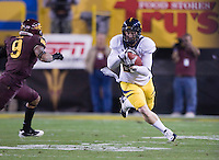 Dasarte Yarnway of California runs down the field after receiving a pass during a game against Arizona State at Sun Devil Stadium in Tempe, California on November 25th, 2011  - California defeated Arizona State 47 - 38