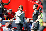 Jurgen Klopp manager of Liverpool points his finger at Referee Bobby Madden during the English Premier League match at Anfield Stadium, Liverpool. Picture date: May 7th 2017. Pic credit should read: Simon Bellis/Sportimage