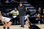 Wake Forest Demon Deacons head coach Bill Ferguson watches the action from the sidelines during the match against the Loyola Ramblers in the LJVM Coliseum on September 3, 2016 in Winston-Salem, North Carolina.  The Ramblers defeated the Demon Deacons 3-2.   (Brian Westerholt/Sports On Film)