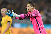 June 13th 2017, Melbourne Cricket Ground, Melbourne, Australia; International Football Friendly; Brazil versus Australia; Goalkeeper Mitchell Langerak of Australia yelling to his players to mark during a corner