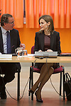 Queen Letizia of Spain talks to Health Minister Alfonso Alonso during the Royal Board on Disability Council meeting in Madrid, Spain. February 25, 2015. (Pool/ALTERPHOTOS/Victor Blanco)