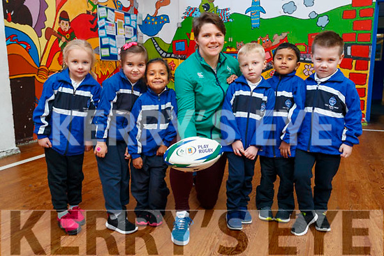 Ciara Griffin Ireland Women's Rugby captain pictured with Junior infants at CBS Primary, Amanda Briede, Maja Urbala, Ashlyn Neerakkal, , Lucas Sugrue, Muhammed Hayan P.A., Adam Grondys.