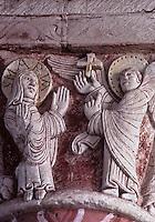 Europe/France/Poitou-Charentes/86/Vienne/Chauvigny: Eglise Saint-Pierre- Chapiteau du choeur: L'annonciation