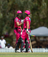 24th November 2019; Lilac Hill Park, Perth, Western Australia, Australia; Womens Big Bash League Cricket, Perth Scorchers versus Sydney Sixers; Erin Burns of the Sydney Sixers congratulates Ashleigh Gardner on her fifty - Editorial Use