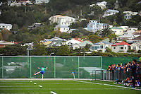 Action from the 1st XI college football match between St Patrick's College (Town) College and Palmerston North Boys' High School at St Pat's College Artificial Turf, Wellington, New Zealand on Wednesday, 13 May 2015. Photo: Dave Lintott / lintottphoto.co.nz