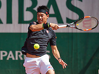 Paris, France, 25 June, 2016, Tennis, Roland Garros,  Kei Nishikori (JPN)<br /> Photo: Henk Koster/tennisimages.com
