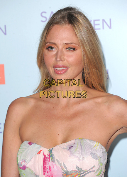 "Estella Warren.""Safe Haven"" Los Angeles Premiere held at the TCL Chinese Theatre, Hollywood, California, USA..February 5th, 2013      .headshot portrait cleavage pink purple floral print strapless  .CAP/DVS.©DVS/Capital Pictures."