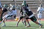 La Canada Flintridge, CA 03/16/13 - Conner Schulte (Coronado #32) and Daniel Dodd (De La Salle #27) in action during the De La Salle vs Coronado lacrosse game at St Francis High School.  De La Salle defeated Coronado 8-5.