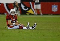 Oct. 16, 2006; Glendale, AZ, USA; Arizona Cardinals quarterback (7) Matt Leinart sits on the ground after a play against the Chicago Bears at University of Phoenix Stadium in Glendale, AZ. Mandatory Credit: Mark J. Rebilas
