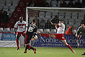 Dannie Bulman of Crawley's shot deflects off Bondz N'Gala of Stevenage (l) for the winning goal. Stevenage v Crawley Town - npower League 1 -  Lamex Stadium, Stevenage - 15th December, 2012. © Kevin Coleman 2012..