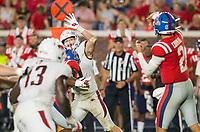 NWA Democrat-Gazette/BEN GOFF @NWABENGOFF<br /> Bumper Pool, Arkansas linebacker, tries to swat down an Ole Miss pass in the third quarter Saturday, Sept. 7, 2019, at Vaught-Hemingway Stadium in Oxford, Miss.