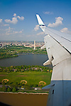 Washington, DC<br /> Aerial view of the Capital Mall, Washington Monument and the Tidal Pond framed by a Boeing 737 wing