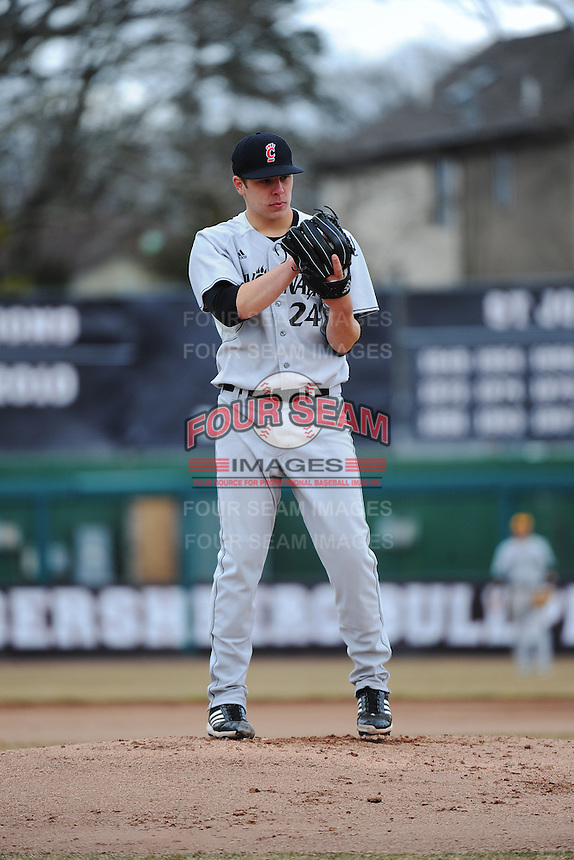 Cincinnati Bearcats pitcher Mitch Patishall (24) during 2nd game of double header against the St. John's Redstorm at Jack Kaiser Stadium on March 28, 2013 in Queens, New York. Cincinnati defeated St. John's 6-5.      . (Tomasso DeRosa/ Four Seam Images)