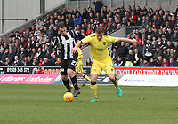Danny Mullen dispossesses Alan Lithgow in the St Mirren v Livingston Scottish Professional Football League Ladbrokes Championship match played at the Paisley 2021 Stadium, Paisley on 14.4.18.