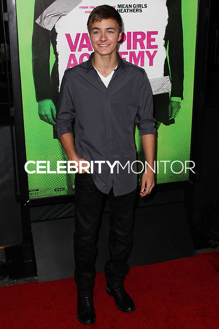 "LOS ANGELES, CA - FEBRUARY 04: Peyton Meyer at the Los Angeles Premiere Of The Weinstein Company's ""Vampire Academy"" held at Regal Cinemas L.A. Live on February 4, 2014 in Los Angeles, California. (Photo by Xavier Collin/Celebrity Monitor)"