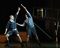 """London, UK. 07.10.2014. New Adventures and RE:Bourne's LORD OF THE FLIES opens at Sadler's Wells. Picture shows"""" Danny Reubens (Jack) and Sam Archer (Ralph).  Photograph © Jane Hobson."""