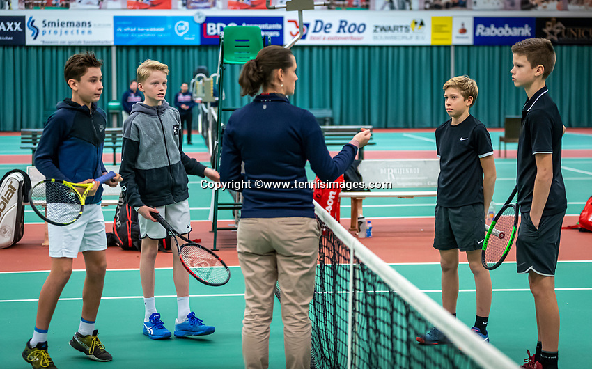 Wateringen, The Netherlands, December 15,  2019, De Rhijenhof , NOJK juniors doubles, final boys 12 years, ltr: Thijs Boogaard (NED) Sander Paradis (NED) umpire Mees Röttgering (NED) and Hidde Schoenmakers (NED) <br /> Photo: www.tennisimages.com/Henk Koster