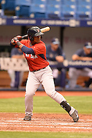 Boston Red Sox outfielder Joseph Monge (39) during an Instructional League game against the Tampa Bay Rays on September 25, 2014 at Tropicana Field in St. Petersburg, Florida.  (Mike Janes/Four Seam Images)