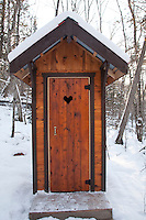 Outhouse with heart window in Ontario Canada.