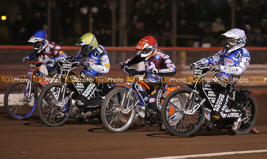 Heat 15: Darcy Ward (white), Peter Karlsson (red), Chris Holder (yellow) and Davey Watt (blue) - Lakeside Hammers v Poole Pirates, Elite League Speedway at the Arena Essex Raceway, Pufleet - 04/05/12 - MANDATORY CREDIT: Rob Newell/TGSPHOTO - Self billing applies where appropriate - 0845 094 6026 - contact@tgsphoto.co.uk - NO UNPAID USE..