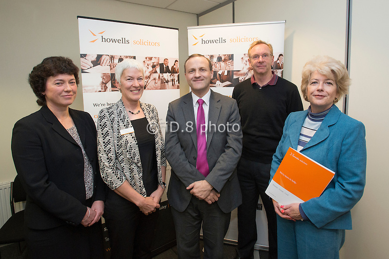 L-R Cathy Urwin (Family Mediation Yorkshire), Sue Colven (Deputy Managing Partner Howells), Steve Webb MP, Minister of State for Pensions, Brian Thorton (Solution Focus, Sheffield) and Alyson Siddall (Partner and Head of the Family Team, Howells)