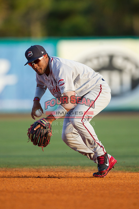 Greenville Drive second baseman Wendell Rijo (11) fields a ground ball against the Charleston RiverDogs at Joseph P. Riley, Jr. Park on May 26, 2014 in Charleston, South Carolina.  The Drive defeated the RiverDogs 11-3.  (Brian Westerholt/Four Seam Images)
