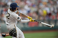 Michigan Wolverines outfielder Jordan Brewer (22) delivers a single in the 3rd inning against the Texas Tech Red Raiders during the first game of the NCAA College World Series on June 15, 2019 at TD Ameritrade Park in Omaha, Nebraska. Michigan defeated Texas Tech 5-3. (Andrew Woolley/Four Seam Images)