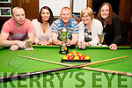 Joe Charles who was the winner of the Joe Flynn memorial at the Castle Bar,Rock Street,Tralee pool competition 2016 and presenting Joe with the Joe Flynn Memorial was Breda Flynn (wife of the late Joe) also in pic was runner up Philip Lawlor, and members of Joe family Bernie Hart and Joanne Cunningham