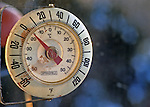 Thermometer outside kitchen window hovering on zero