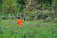 Boy catching butterflies with net.