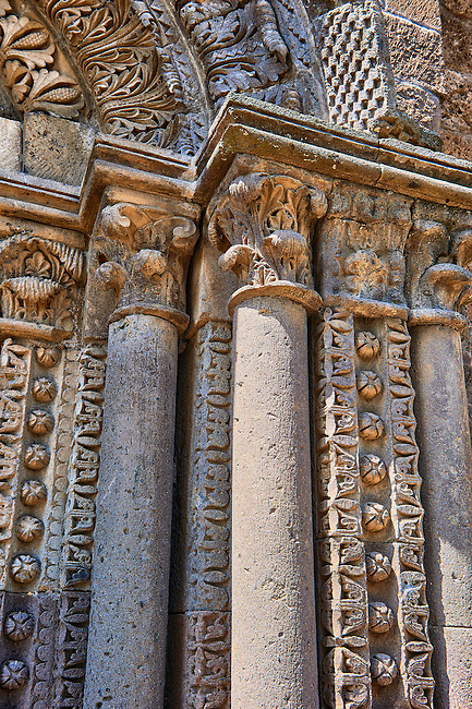 Detail of pillars of the  side portal of the Basilica Church of Santa Maria Maggiore, Tuscania