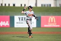 Glendale Desert Dogs third baseman Steve Wilkerson (12), of the Baltimore Orioles organization, throws to first base during an Arizona Fall League game against the Surprise Saguaros at Surprise Stadium on November 13, 2018 in Surprise, Arizona. Surprise defeated Glendale 9-2. (Zachary Lucy/Four Seam Images)