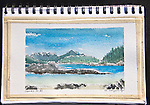 Clarke Island, Barkley Sound, Vancouver Island, watercolor, Journal Art 2010,