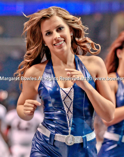 Aug 14, 2010: A Tampa Bay Storm cheerleader. The Storm defeated the Predators 63-62 to win the division title at the St. Petersburg Times Forum in Tampa, Florida. (Mandatory Credit:  Margaret Bowles)