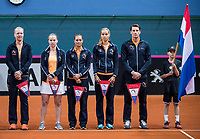 Bratislava, Slovenia, April 22, 2017,  FedCup: Slovakia-Netherlands,  : Dutch team on court, ltr: Kiki Bertens, Richel Hogenkamp, Cindy Burger, Arantxa Rus and Captain Paul Haarhuis.<br /> Photo: Tennisimages/Henk Koster