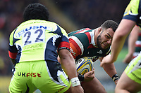 Ellis Genge of Leicester Tigers faces off against Johnny Leota of Sale Sharks. Aviva Premiership match, between Leicester Tigers and Sale Sharks on April 29, 2017 at Welford Road in Leicester, England. Photo by: Patrick Khachfe / JMP