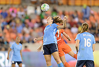 Ashley Nick (10) of Sky Blue FC wins a header over Caity Heap (27) of the Houston Dash on Friday, April 29, 2016 at BBVA Compass Stadium in Houston Texas. The Houston Dynamo and Sky Blue FC tied 0-0.
