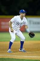Burlington Royals third baseman Trey Stover (11) on defense against the Johnson City Cardinals at Burlington Athletic Park on August 22, 2015 in Burlington, North Carolina.  The Cardinals defeated the Royals 9-3. (Brian Westerholt/Four Seam Images)