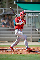 GCL Cardinals catcher Zach Jackson (39) hits a foul ball during a game against the GCL Mets on July 23, 2017 at Roger Dean Stadium Complex in Jupiter, Florida.  GCL Cardinals defeated the GCL Mets 5-3.  (Mike Janes/Four Seam Images)